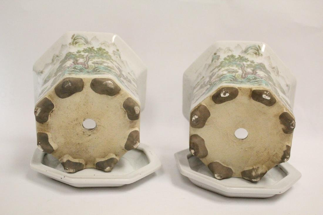 Pair Chinese famille rose planter with under plate - 6