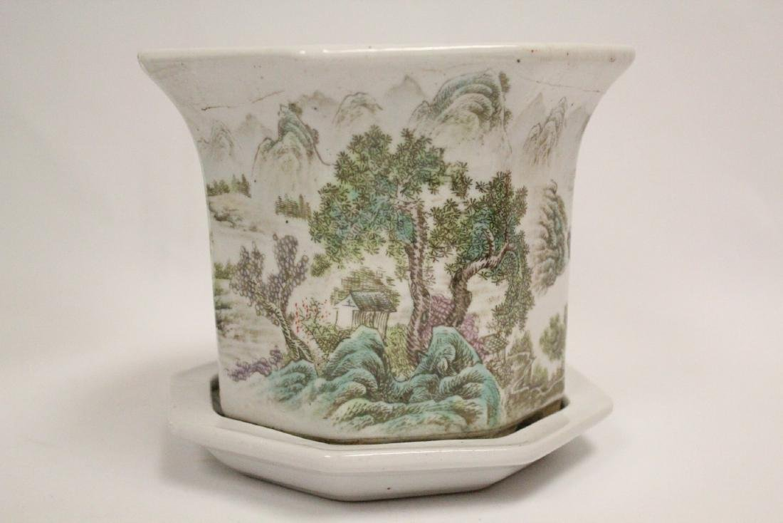 Pair Chinese famille rose planter with under plate - 8