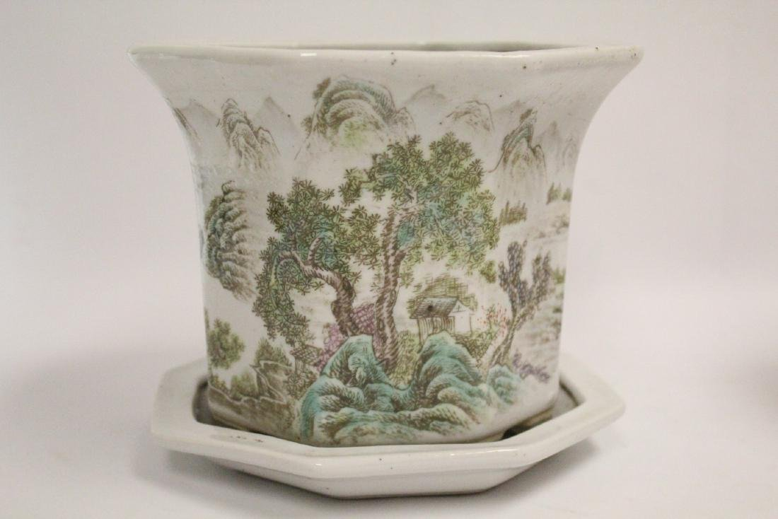 Pair Chinese famille rose planter with under plate - 9