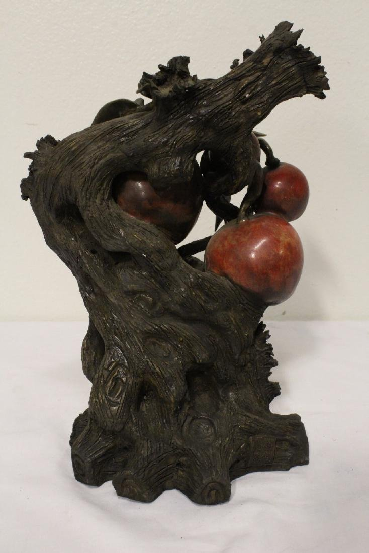 Chinese painted bisque sculpture of fruit tree - 7