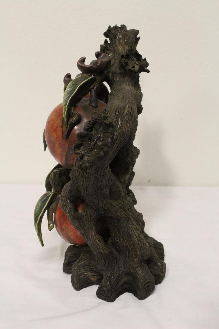 Chinese painted bisque sculpture of fruit tree - 8
