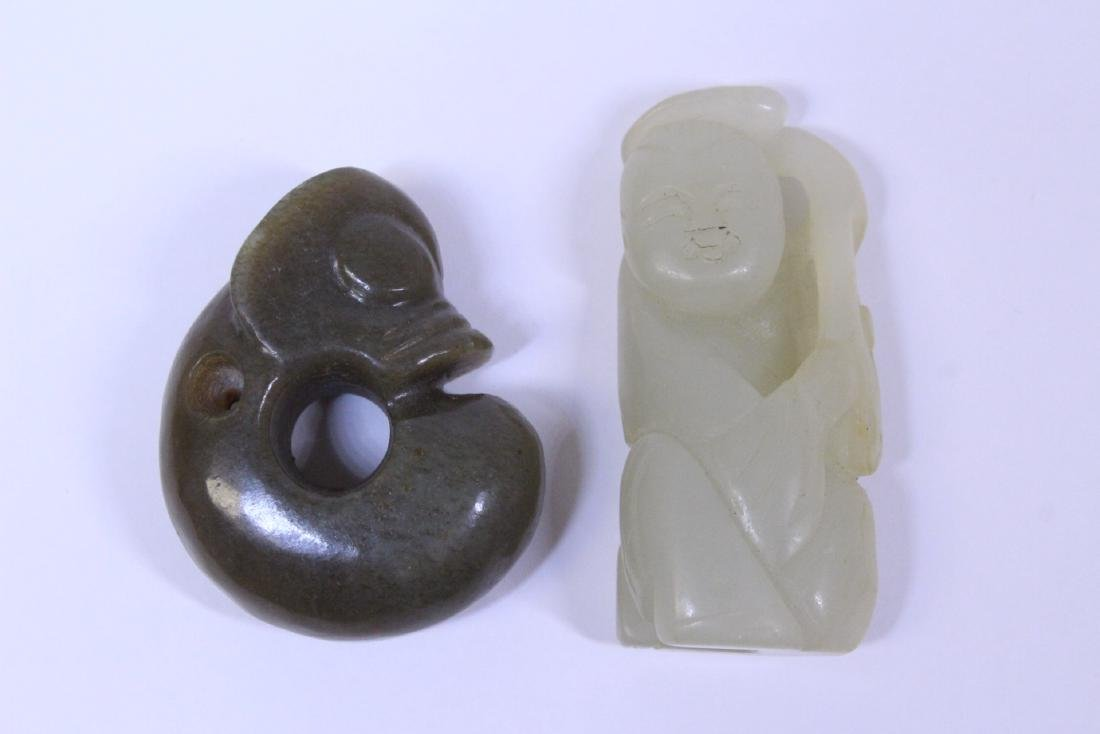 2 jade carved ornament, one in figure motif