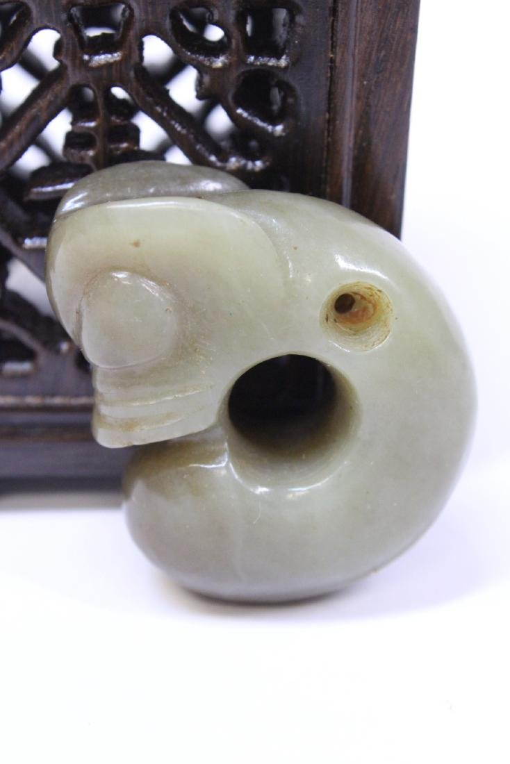 2 jade carved ornament, one in figure motif - 4