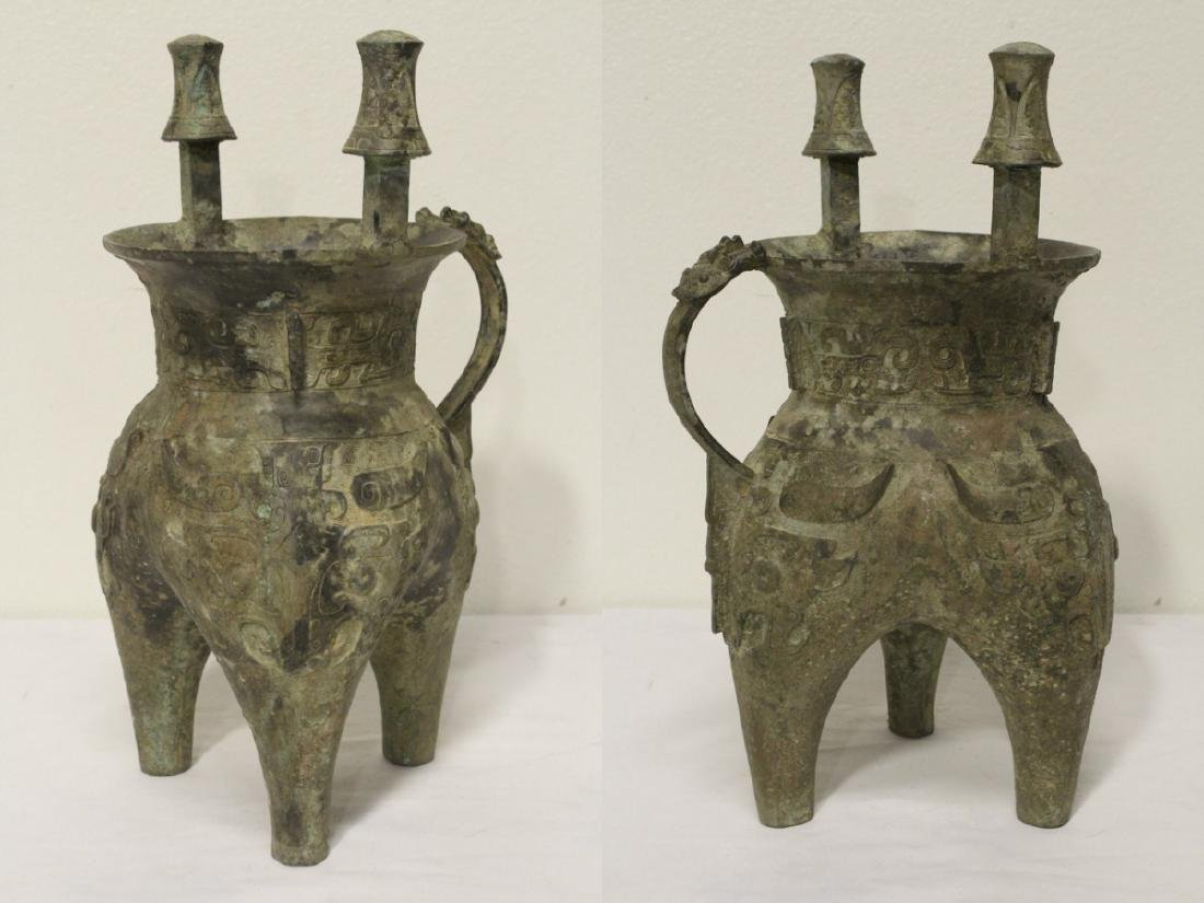 A large Chinese bronze tripod food vessel - 5