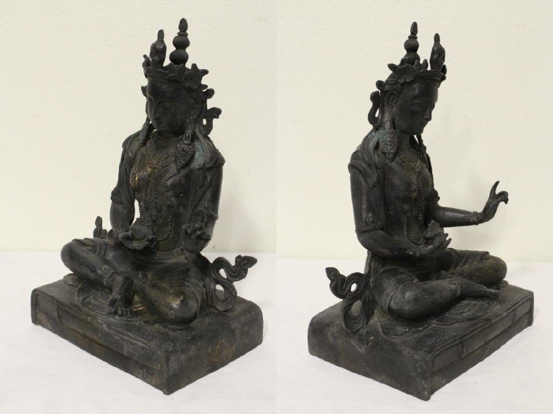 Chinese bronze sculpture of seated Buddha - 6