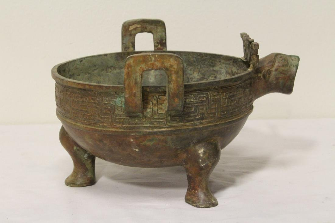 Chinese archaic style bronze tripod ding - 5