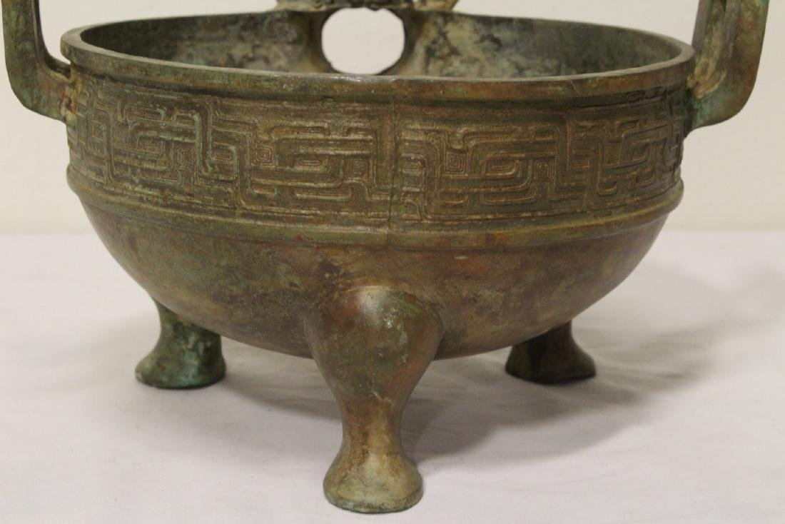 Chinese archaic style bronze tripod ding - 7