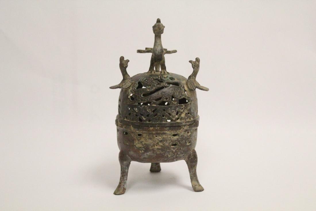 Chinese bronze covered censer