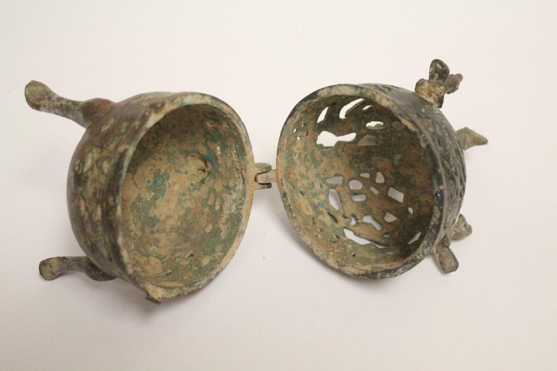 Chinese bronze covered censer - 6