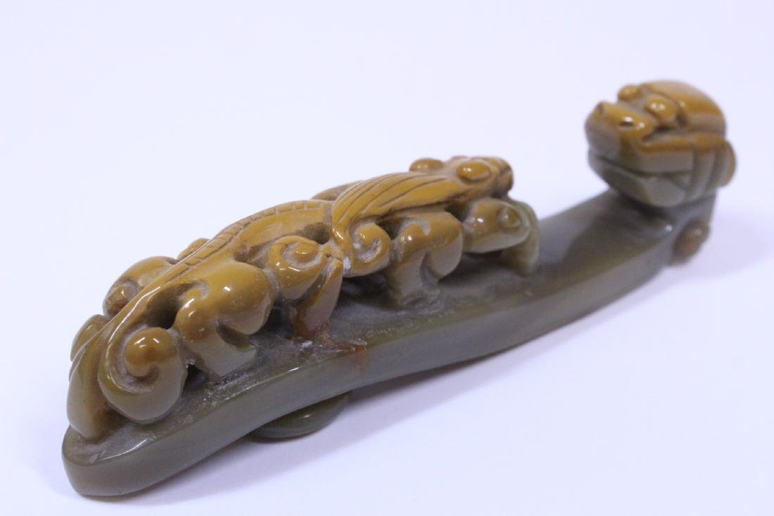 Chinese celadon jade carved dragon belt buckle - 3