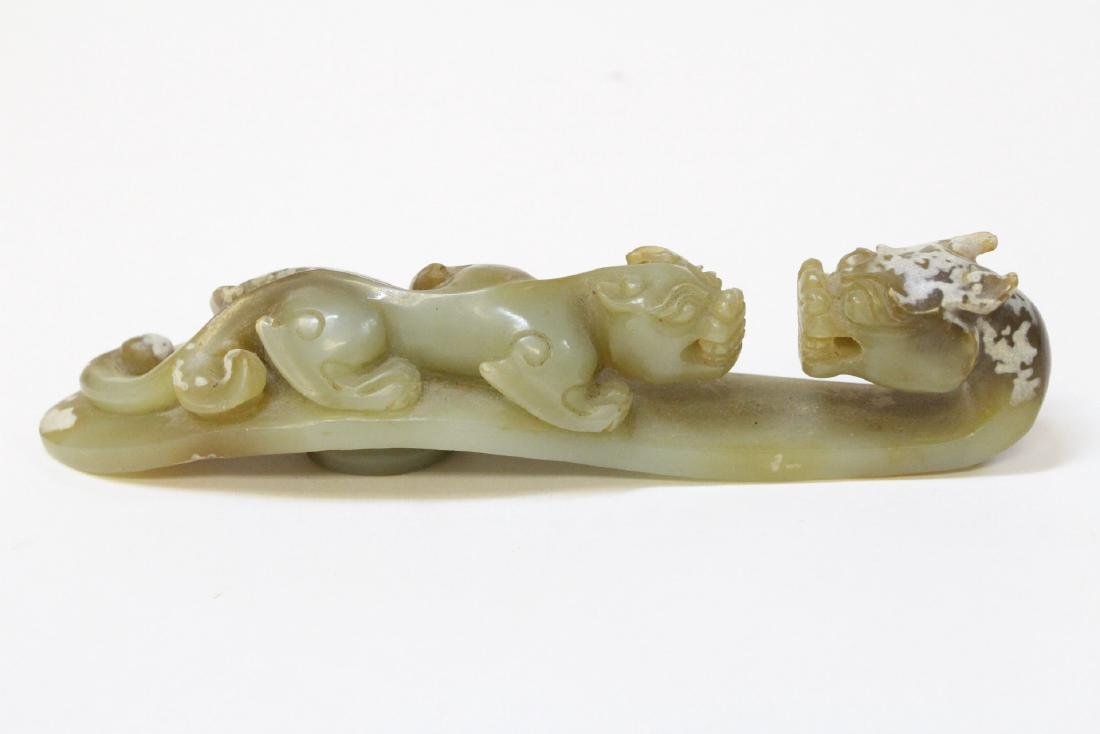Chinese celadon jade carved dragon belt buckle