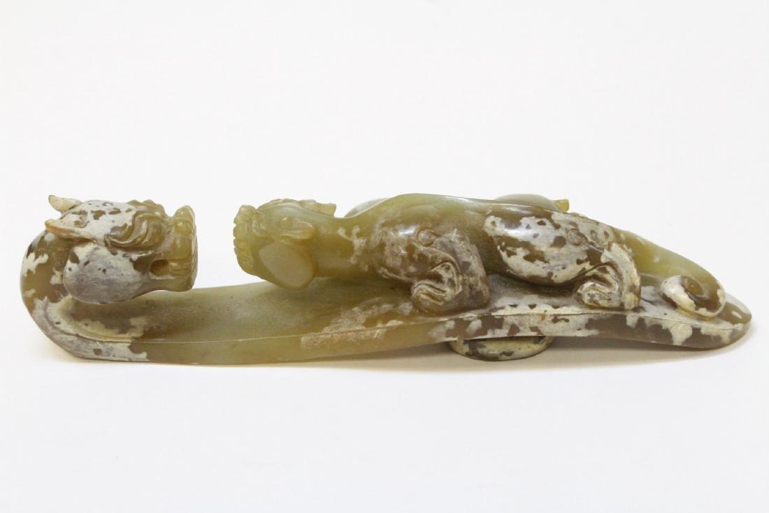 Chinese celadon jade carved dragon belt buckle - 4