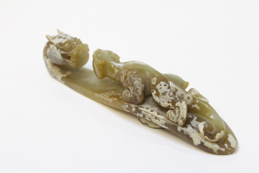 Chinese celadon jade carved dragon belt buckle - 5