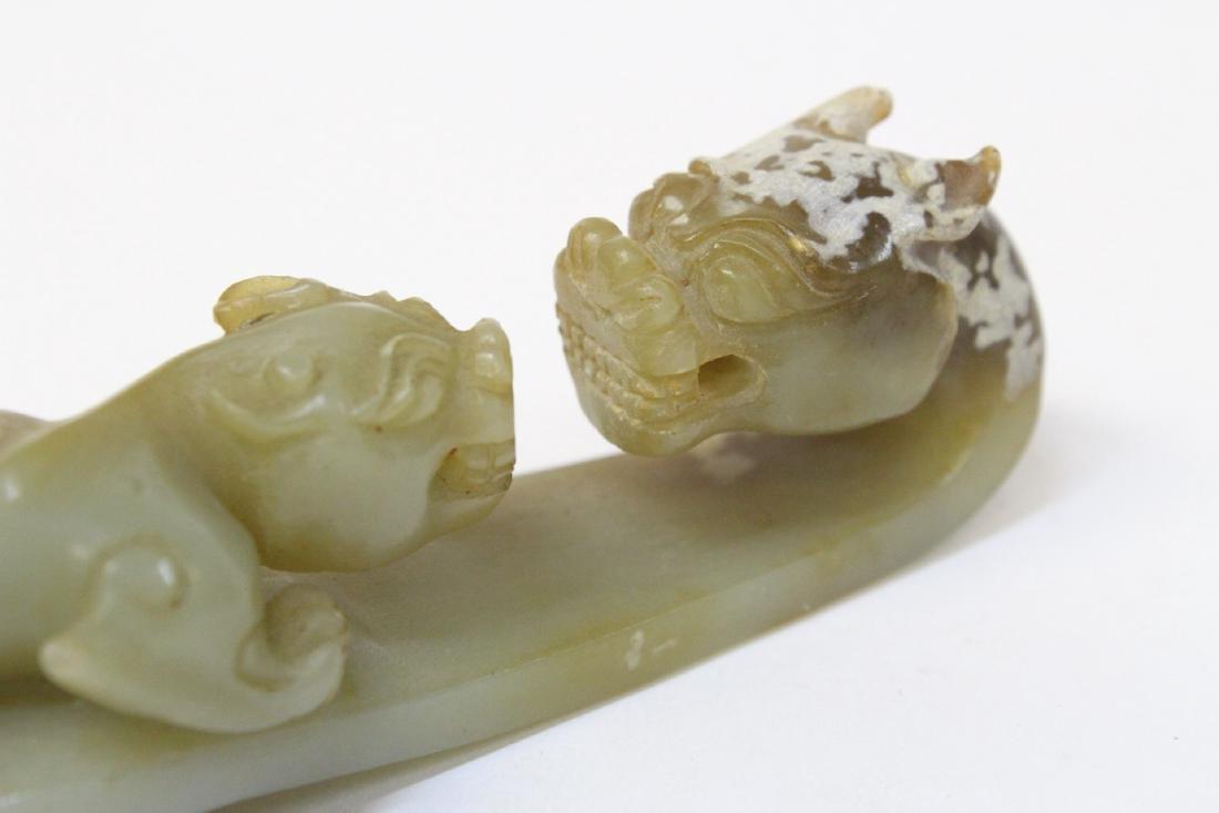 Chinese celadon jade carved dragon belt buckle - 9