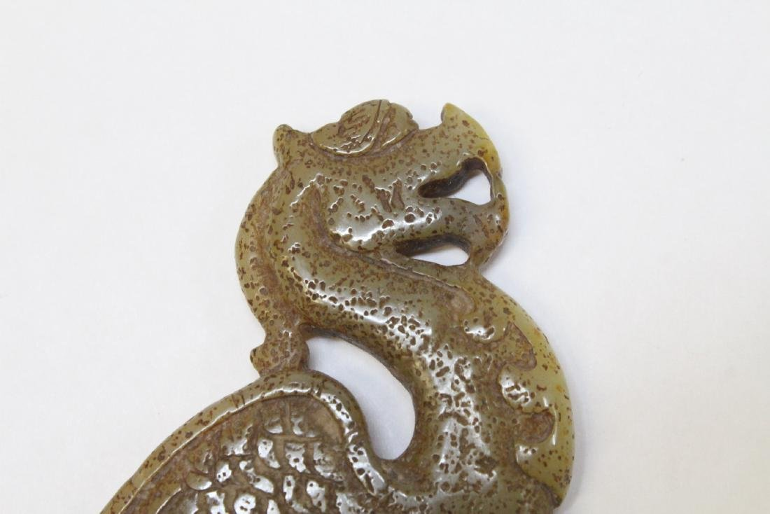 Chinese jade carved dragon plaque - 3