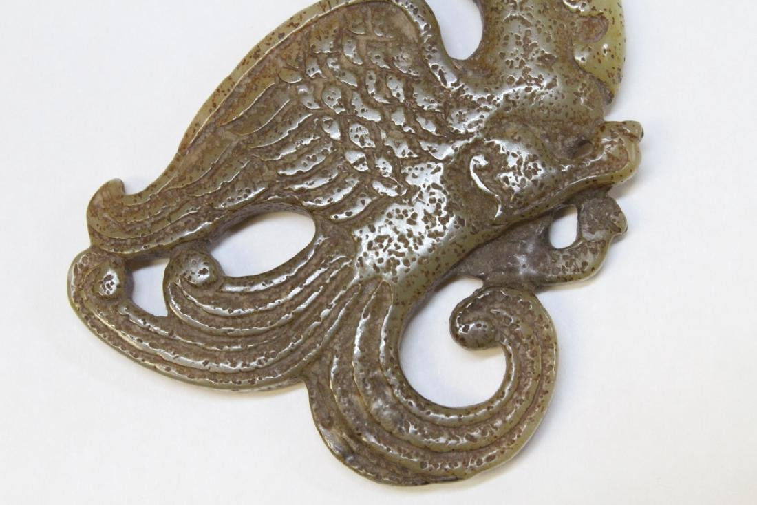 Chinese jade carved dragon plaque - 4