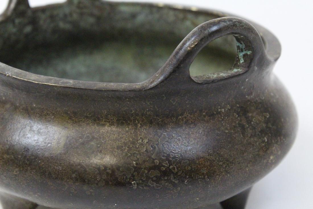 Chinese round bronze censer - 8