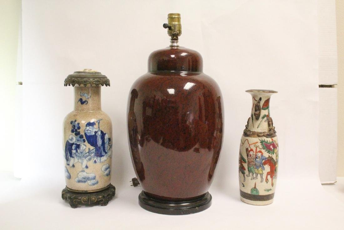 Chinese vase, & 2 Chinese vases made as lamps
