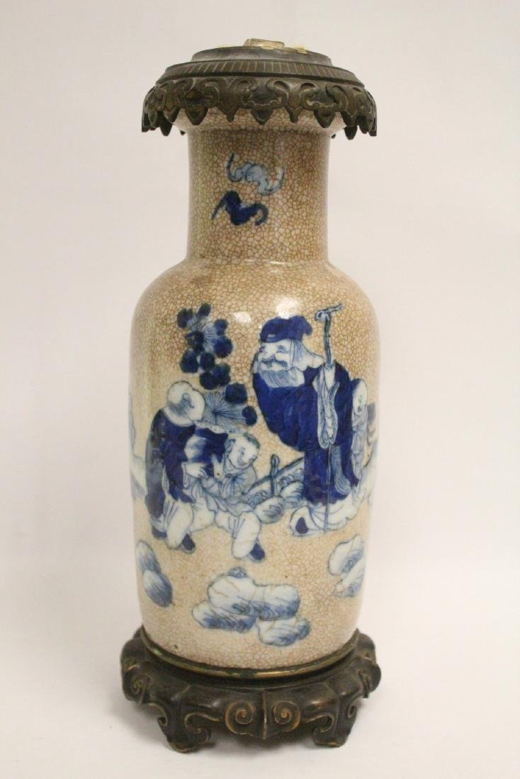 Chinese vase, & 2 Chinese vases made as lamps - 4
