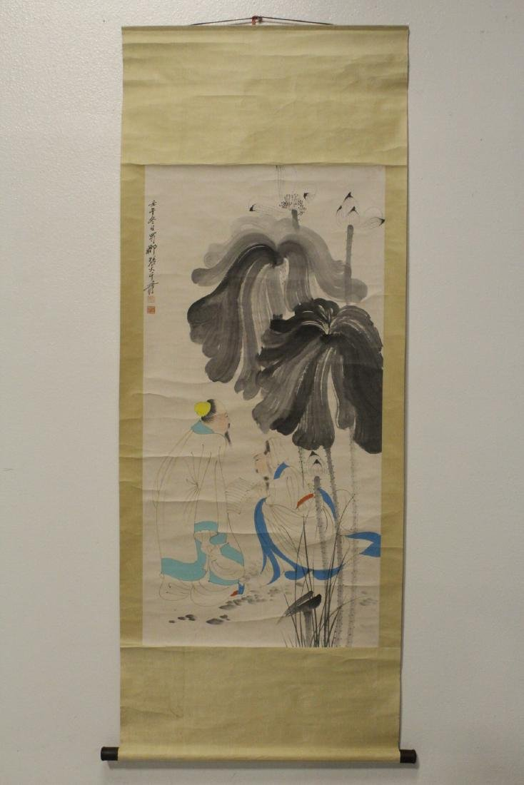 Chinese hand color enhanced print scroll - 2