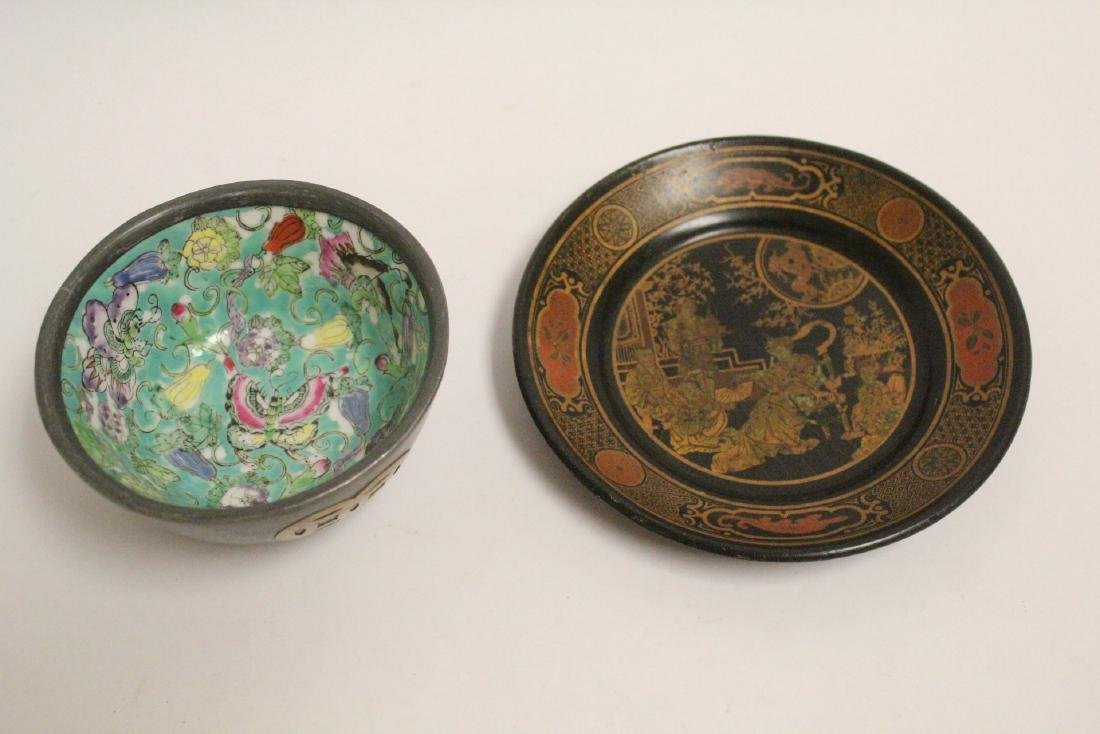 Chinese lacquer plate and a famille rose bowl