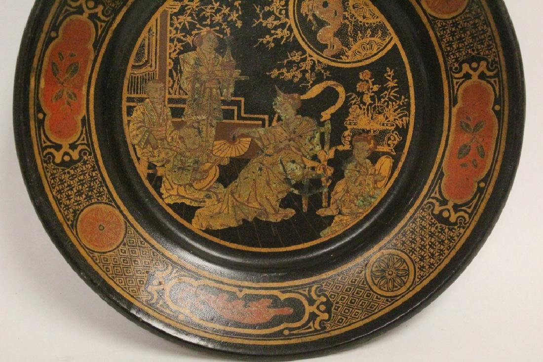 Chinese lacquer plate and a famille rose bowl - 4