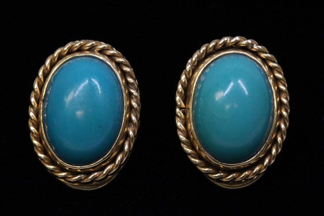 Pair 14K Y/G turquoise earrings