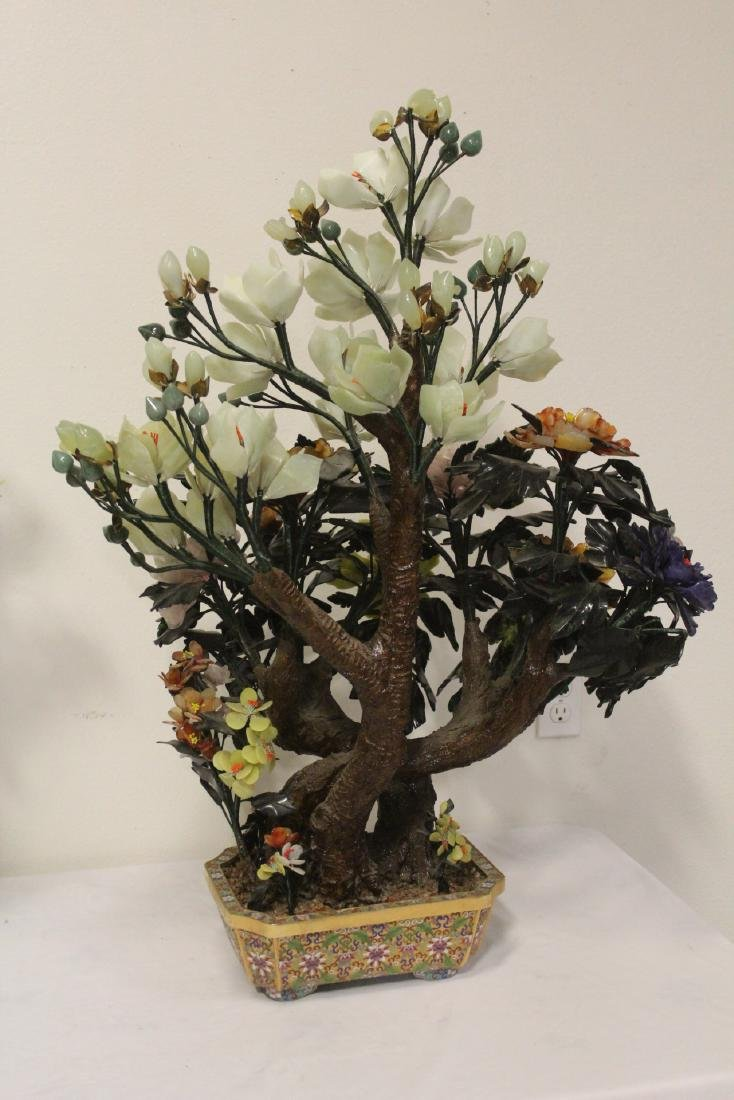 Pair Chinese large jade trees with cloisonne base - 10