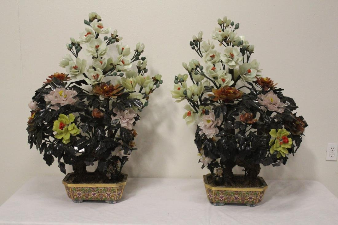 Pair Chinese large jade trees with cloisonne base
