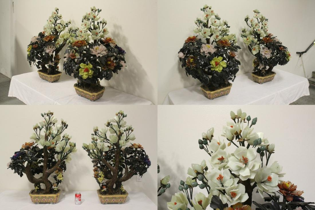 Pair Chinese large jade trees with cloisonne base - 2