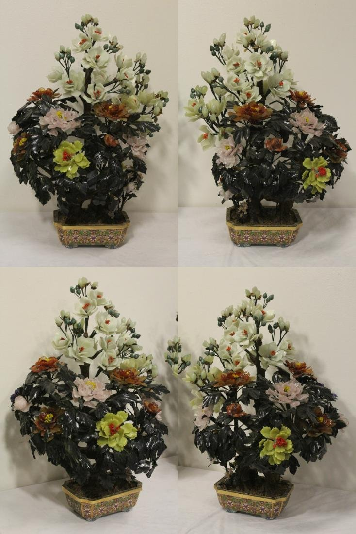 Pair Chinese large jade trees with cloisonne base - 3