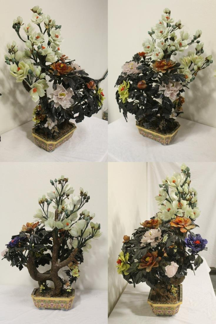 Pair Chinese large jade trees with cloisonne base - 4