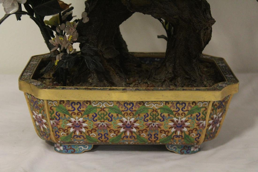 Pair Chinese large jade trees with cloisonne base - 5