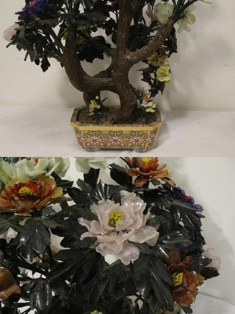 Pair Chinese large jade trees with cloisonne base - 7