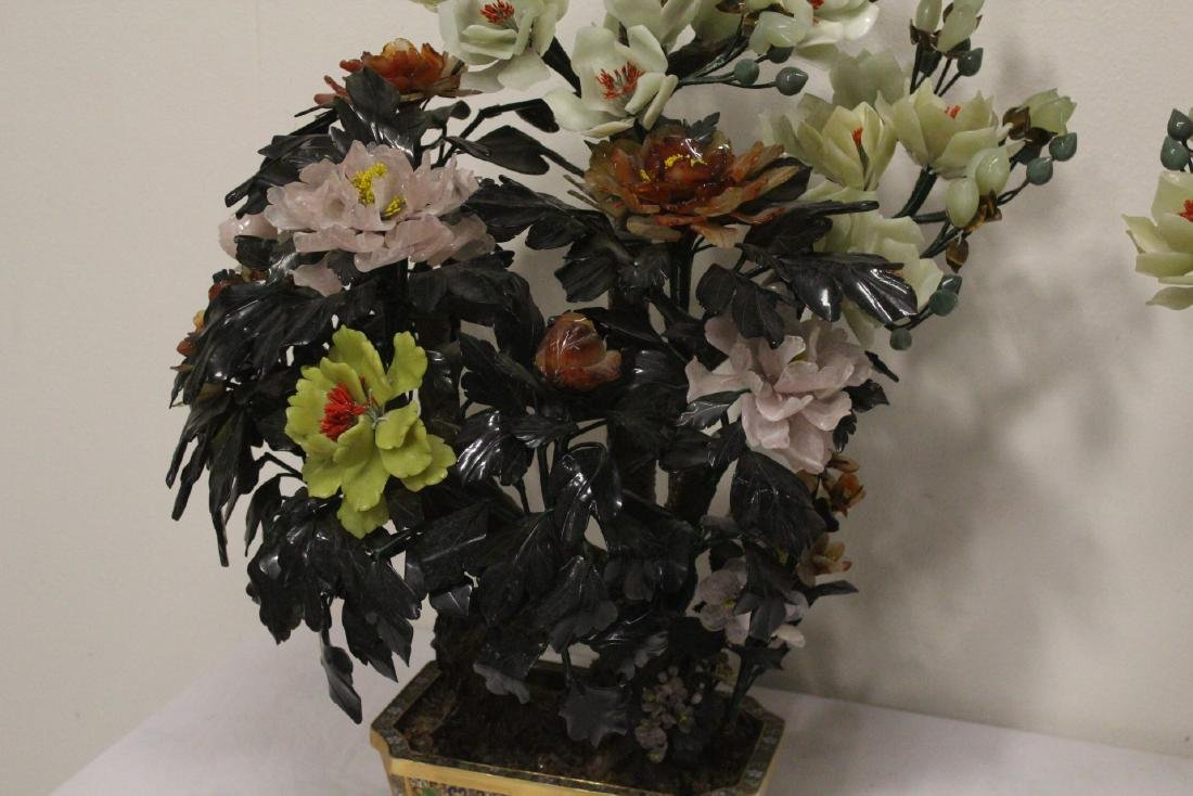 Pair Chinese large jade trees with cloisonne base - 8