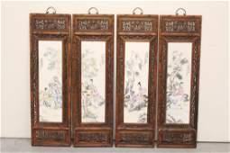 Set of 4 framed porcelain plaque