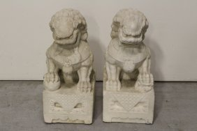 Pair Chinese marble carved fulion
