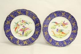 Pair beautiful French hand painted porcelain plates