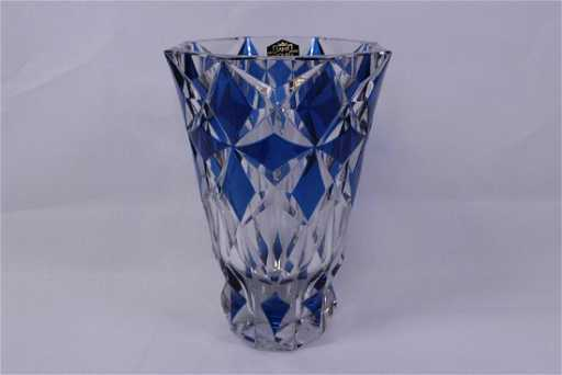 Large Blue To Clear Crystal Vase By St Louis