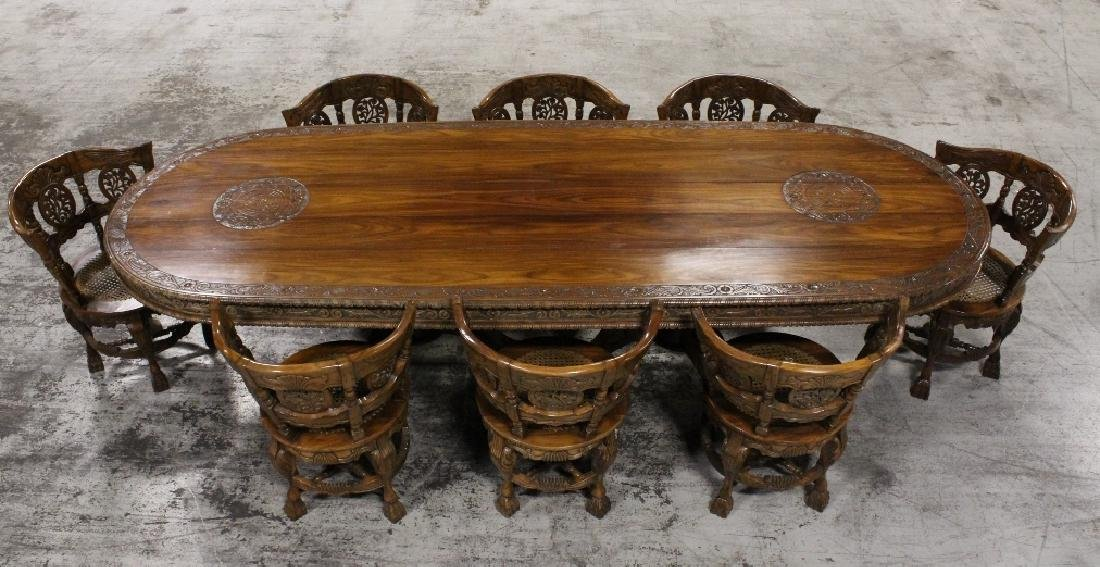 Important solid nadun wood dining room set