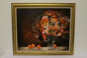 "Oil On Canvas ""bouquet Orange"" By Michel Henry"