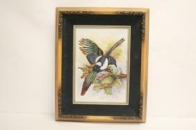 Framed hand painted porcelain plaque