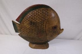 Hand painted wood carving of fish