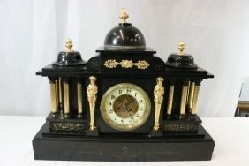 Black slag cased shelf clock