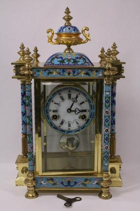 Chinese Table Clock With Cloisonne Decoration