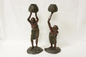 Pair rare Japanese 19th century bronze sculpture
