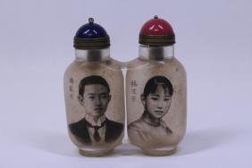 Rare Chinese Twin Inside Painted Snuff Bottle