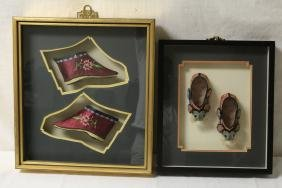 2 pairs Chinese antique embroidery shoes, framed