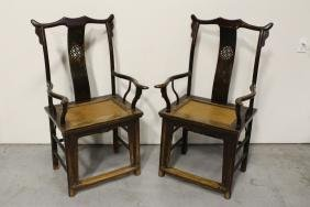 Pair Chinese antique armchairs with cane set