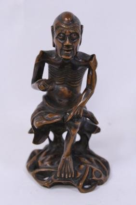 Antique Chinese wood carved Lohan